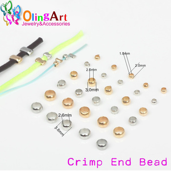 цена OlingArt Crimps beads 2/2.5/3.0/4mm Silver-color gold-color Plated FIT Wire rope  Bracelet necklace DIY jewelry making Findings онлайн в 2017 году