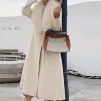 Зимняя куртка женская Повседневная 2019 натуральный мех пальто натуральный Лисий мех воротник 100% шерстяное пальто толстая теплая Уличная По