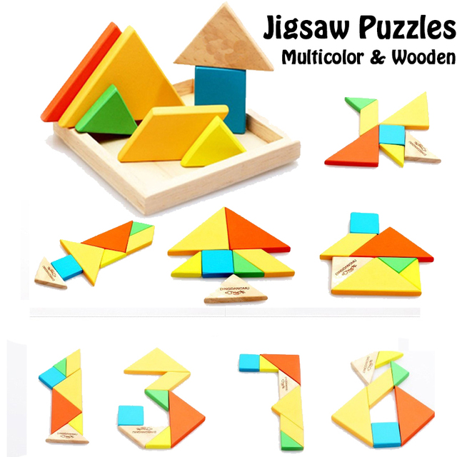US $6 69  Color Wooden Jigsaw Puzzles Toys Tangram Board Games Wood  Geometric Shape Puzzles Educational Toys Brain Leisure Toys Kids Gift-in  Puzzles