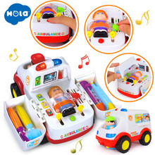 HOLA 836 Ambulance Doctor Vehicle Set 2-in-1 Baby Toys Pretend Doctor Set & Medical Kit Inside Bump & Go Toy Car with Lights(China)