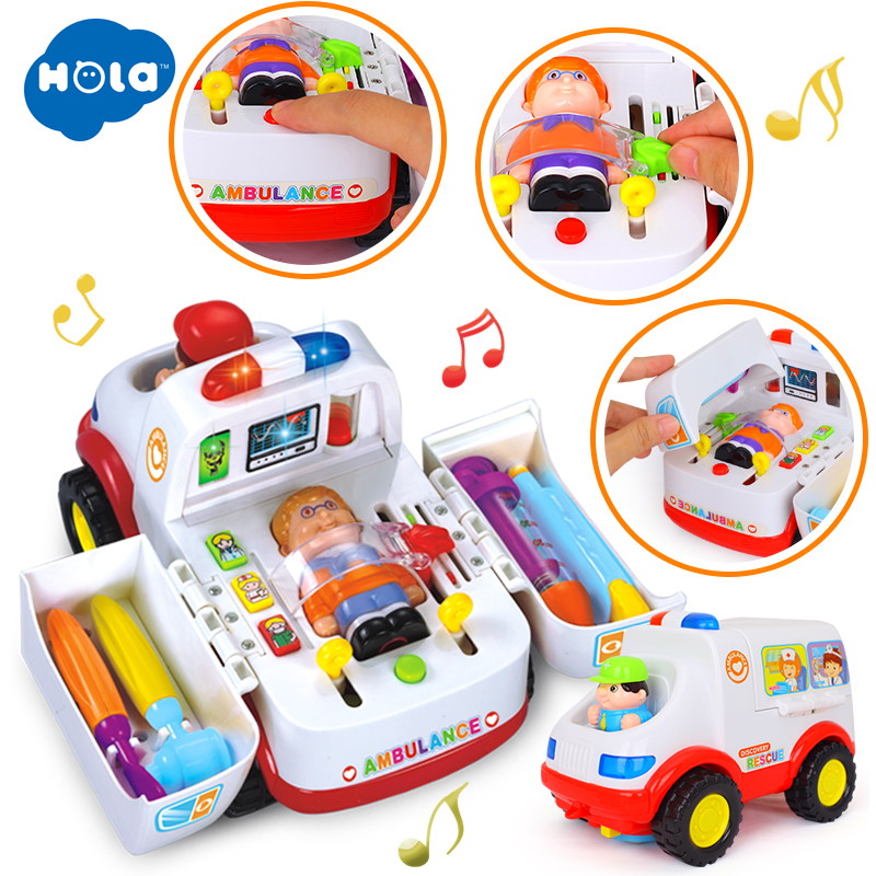 HOLA 836 Ambulance Car Toy With Music & Lights For Baby Toddlers 13-24 Month 2-in-1 Pretend Doctor Toy Set Kit For Children Boys