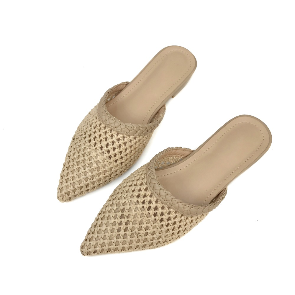 2018 HOT Women Cane Mules Pointed Toe Straw Flat Heel Sandals Slip On Slides Summer Slippers Hollow Out Size 35-40 цены онлайн