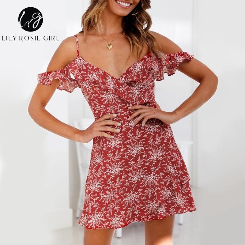 Lily Rosie Girl Wine Red Print Boho Dress Cold Shoulder Spaghetti Strap Short Sexy Drees V Neck Beach Women Dress Vestidos