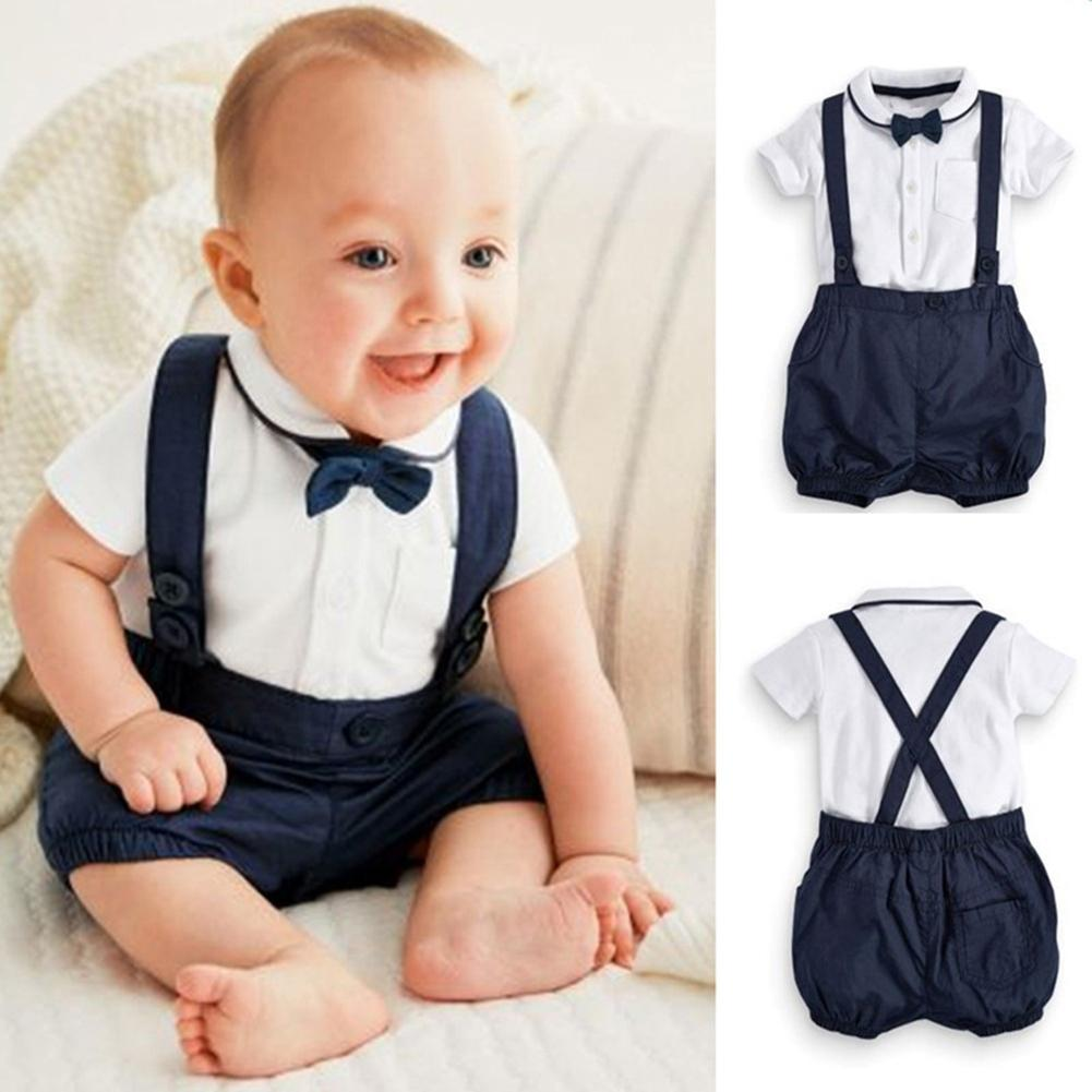 2Pcs/Set Baby Boy Gentleman Short Sleeve T-shirt Suspender Trousers Outfits