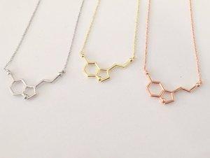 Новые женские серотонины, массивные ожерелья, подвески серебряного цвета, молекула серотонина, Золотая химия, длинное ожерелье, Мужская цеп...