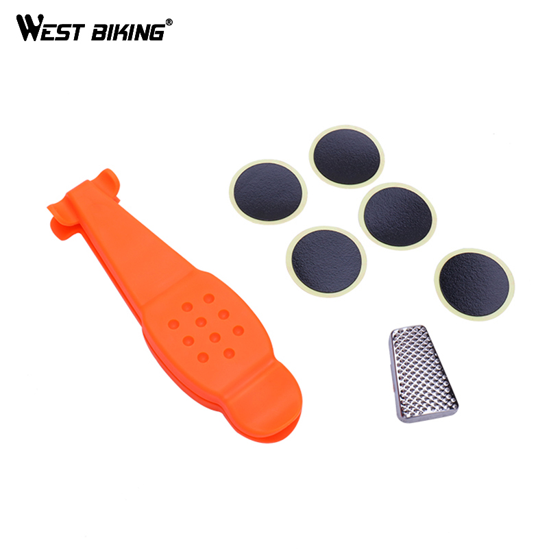 WEST BIKING Bike Tire Repair Kits with 5PCS Glue Tire Patch 3 in 1 Tire Levers Pry Bar Sanding Tool MTB Bicycle Repair Tools 8 in 1 professional tire repair kit