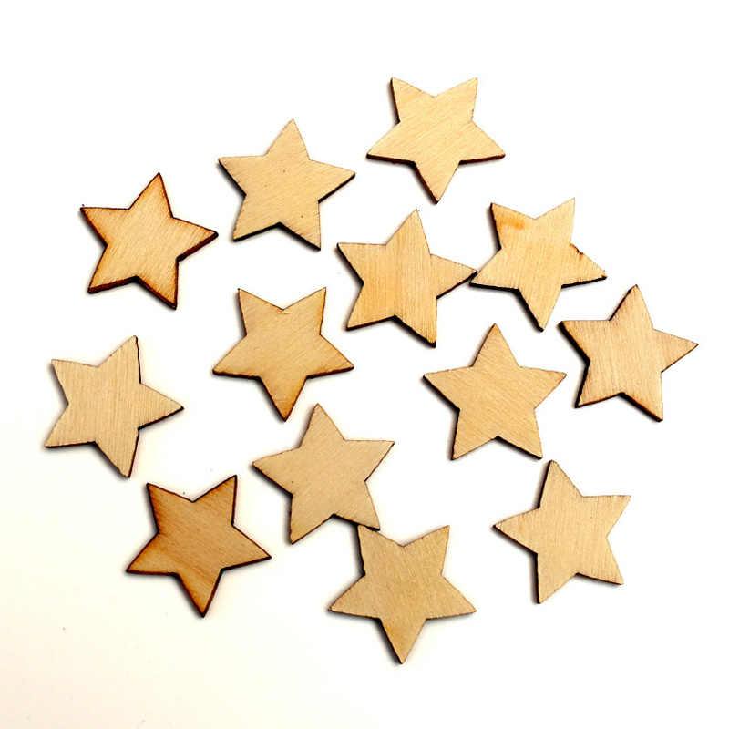 100 шт. натуральная звезда дерево ремесло украшения МДФ деревянный вырез Flatback Скрапбукинг для кардмейкинга DIY Art Свадебные украшения
