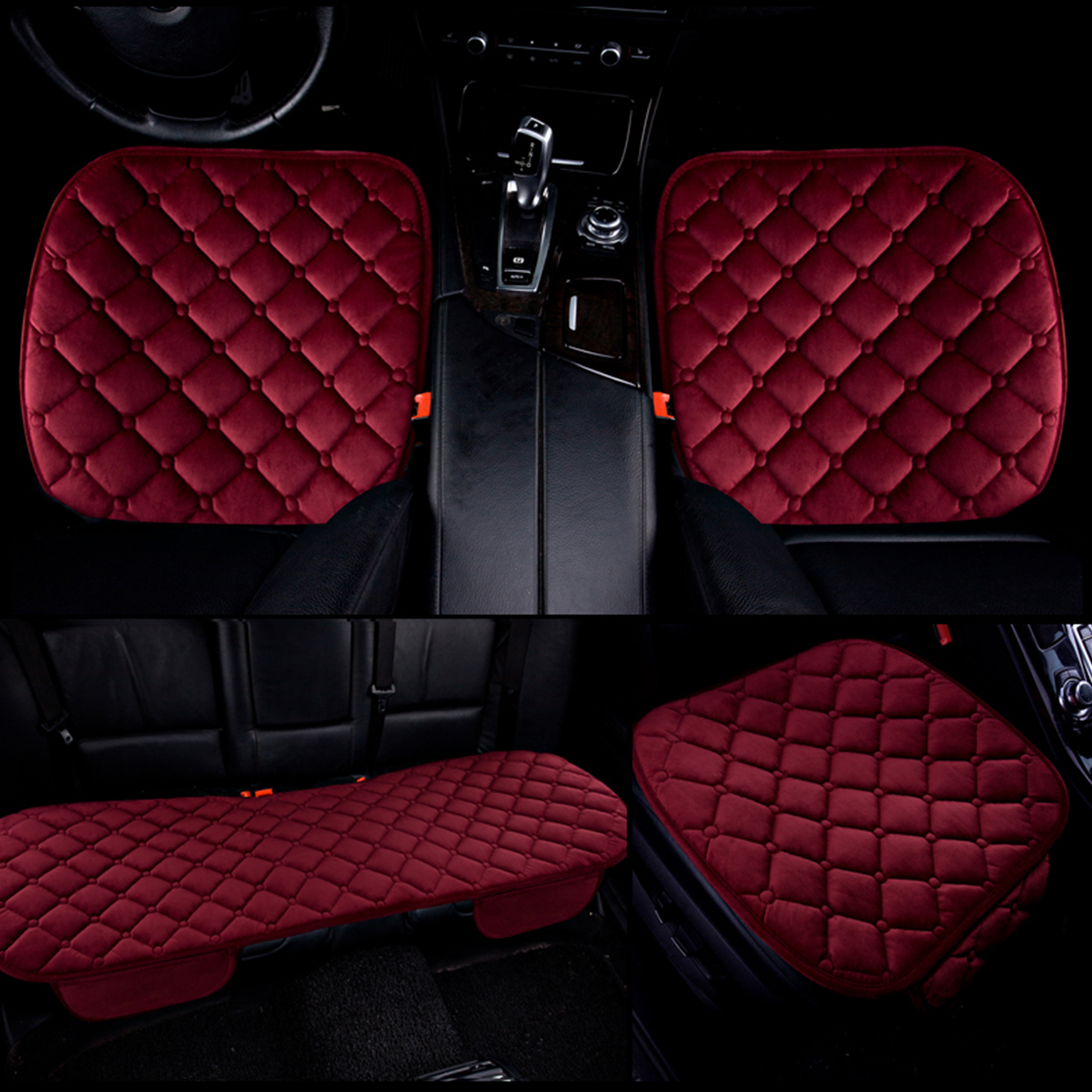 Dewtreetali Winter Warm Velvet Front Rear Car Seat Cover Set Protector Chair Pad Breathable Cushion Auto
