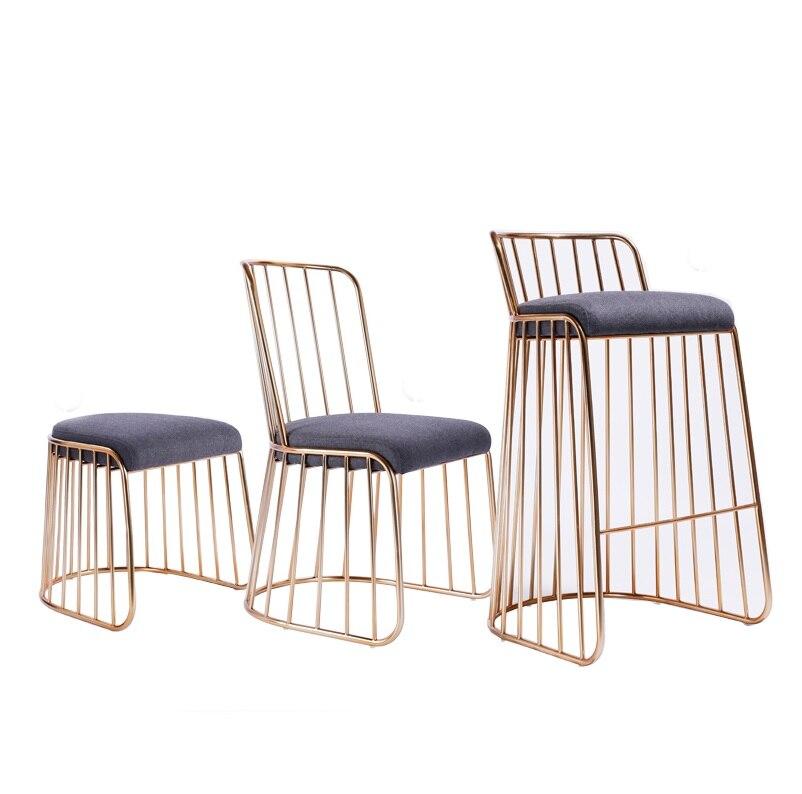 Cadeira Lateral Fio de Metal Acabamento Em Ouro com Encosto/Bar Contador de Alta Fezes Encosto Baixo/Low Stool - 5