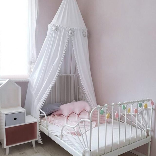 Cotton Baby room decoration Balls Mosquito Net Kids bed curtain canopy Round Crib Netting tent photography props baldachin S3