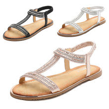 2019 Women Sandals Fashion Bling Crystal Summer Shoes Woman Gladiator Beach Flat Sandals Chaussure Flip Flop tenis feminino D25