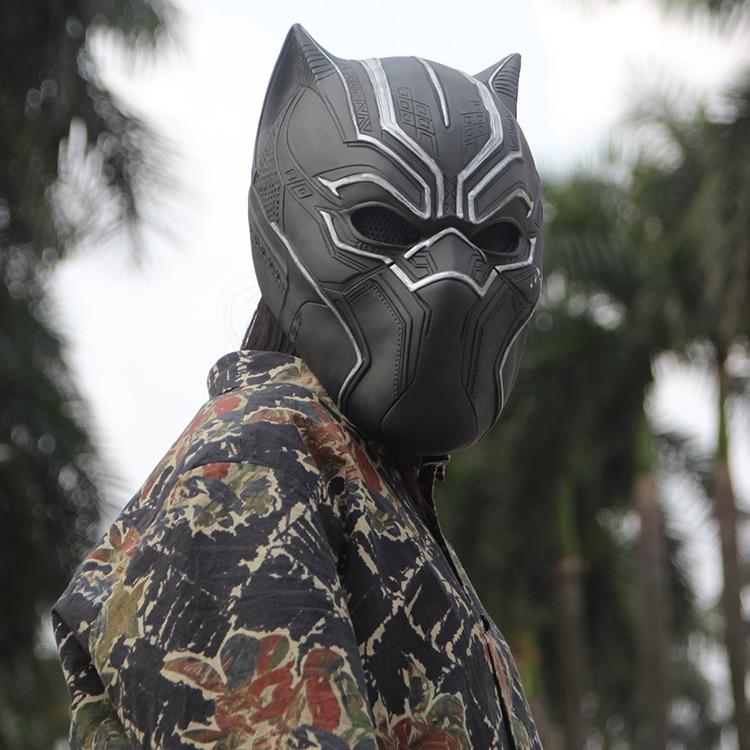 В наличии 2017 одноцветное 3D Черная пантера маски фильм Фантастическая четверка Косплэй Для Мужчин Латекс вечерние полный маска для Хэллоуин Прямая доставка