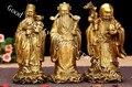 Китай латунь Фу Лу Шу предметы украшения дома ремесло статуя