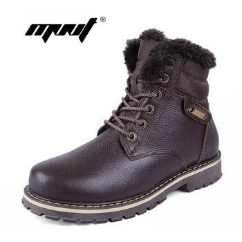 Hoge kwaliteit volnerf leer mannen winter laarzen, handgemaakte mode mannen snowboots plus size super warme fluwelen winter schoenen