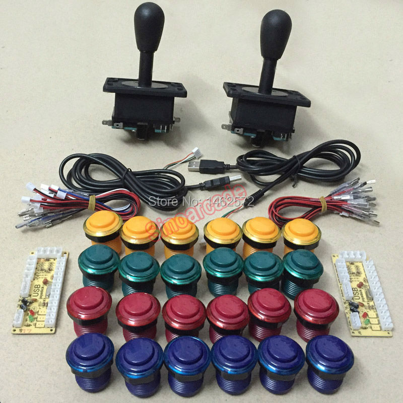 Arcade MAME DIY parts For 2 players: 2* zero delay USB encoder & 2 HAPP Style joystick & 24 push buttons makita 6408 безударная дрель