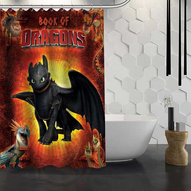 Custom How To Train Your Dragon Shower Curtain Waterproof Fabric Bath For Bathroom WJY1