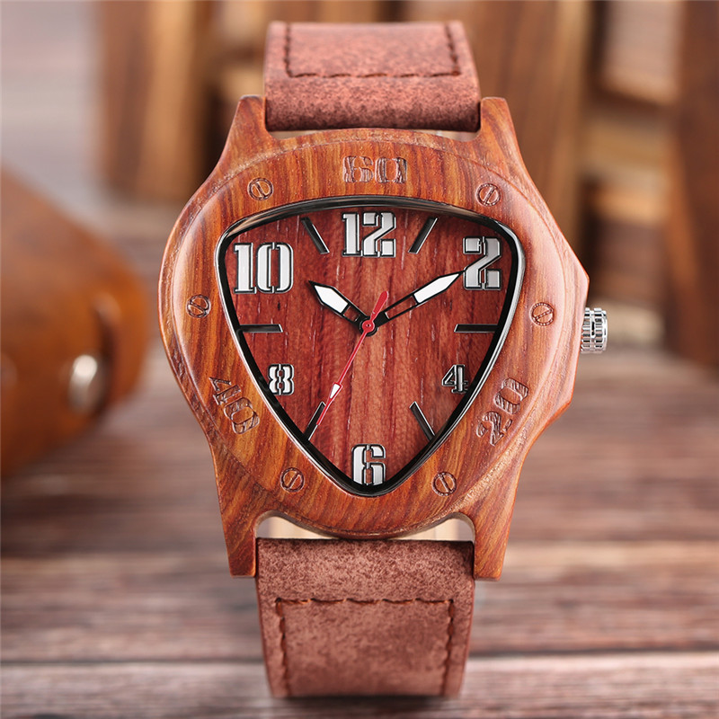 Fashion Men Wooden Wristwatch Sporty Triangle Wood Case Special Number Dials Cool Bamboo Mahogany Sport Watch Unique Gifts Clock спот spot light cristall 2042128