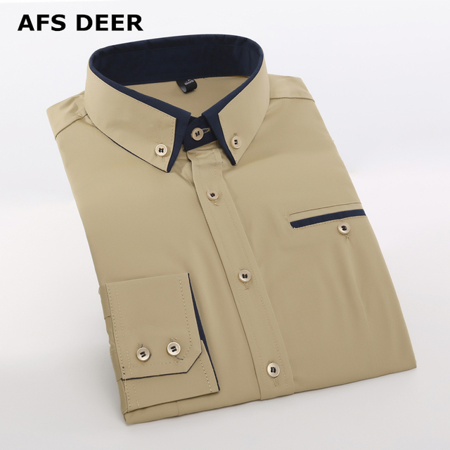 b571bbccaddc Men Shirt Long Sleeve Mandarin Collar Slim Fit New Fashion Casual Shirt Men  Korean Business Mens Dress solid Shirts Men Clothes