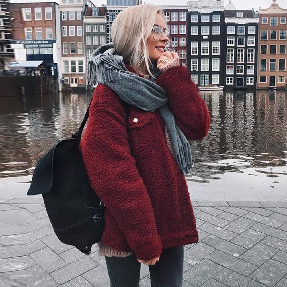 Womens Oversized Faux Furs 2018 New Winter Fashion Chic Soft Teddy Bear Coat Ladies Faux Fur Button Jacket Outwear High Street