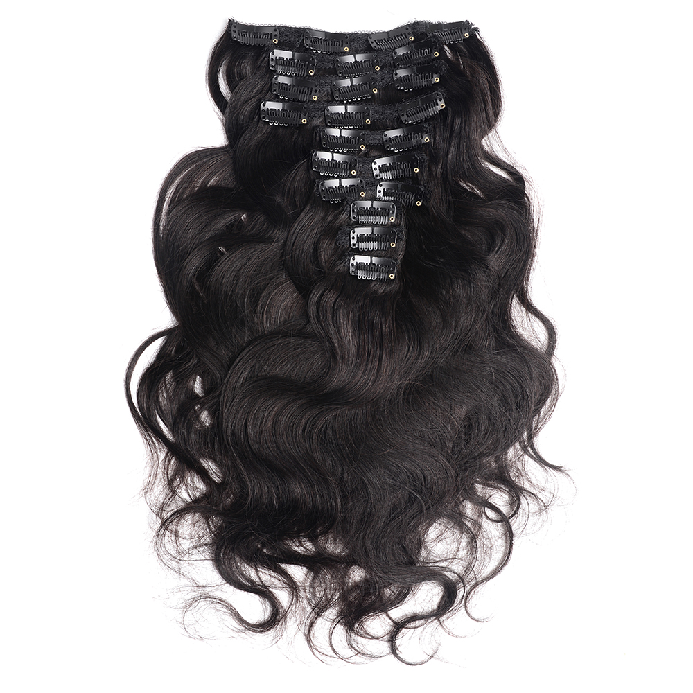 Doreen Hair 200G Thick Full Head Clip In Human Hair Extensions Brazilian Machine Made Remy Hair 100% Human Hair Natural Black
