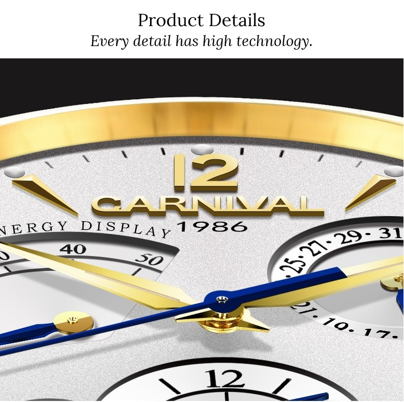 Original CARNIVAL Fashion Men Watch Top brand Multifunction Automatic Watch Men Calendar Waterproof Luminous Mechanical watches 20
