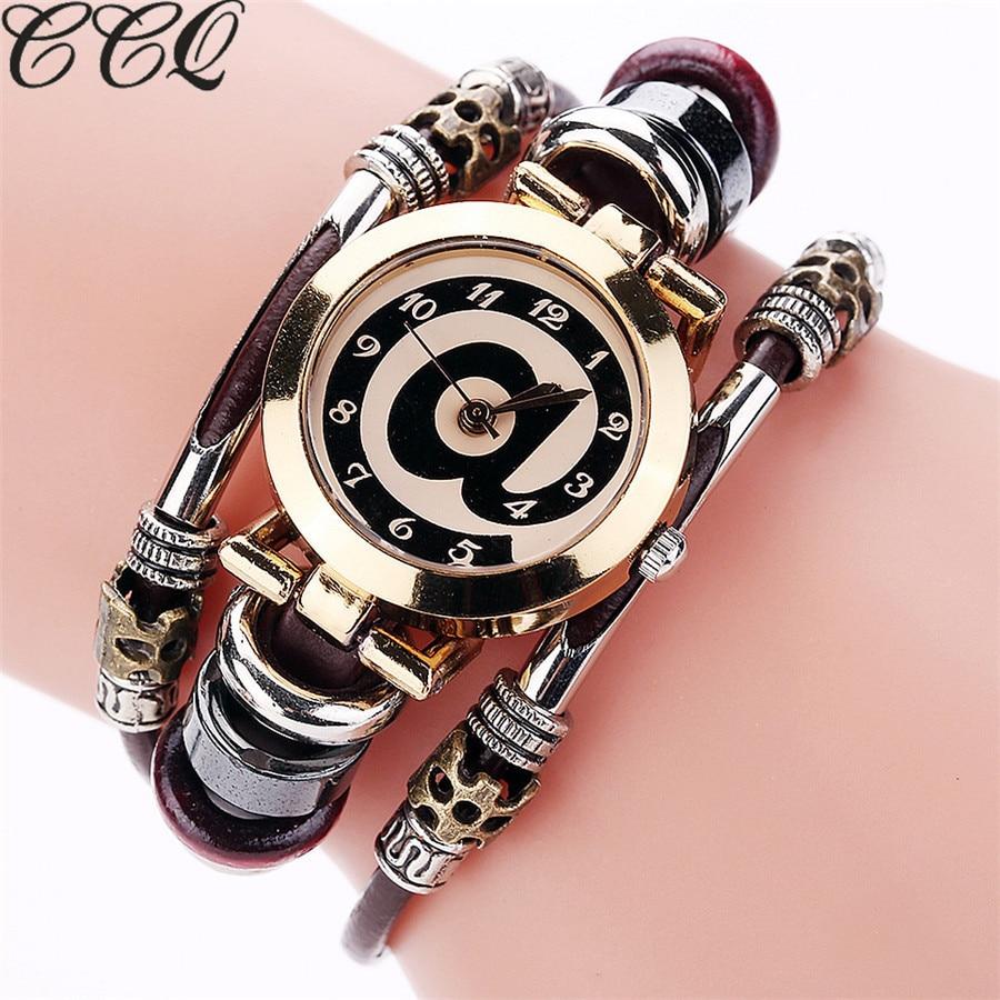 CCQ Brand Fashion Vintage Cow Leather Bracelet Watches Casual Women Crystal Quartz Watch Relogio Feminino Drop Shipping