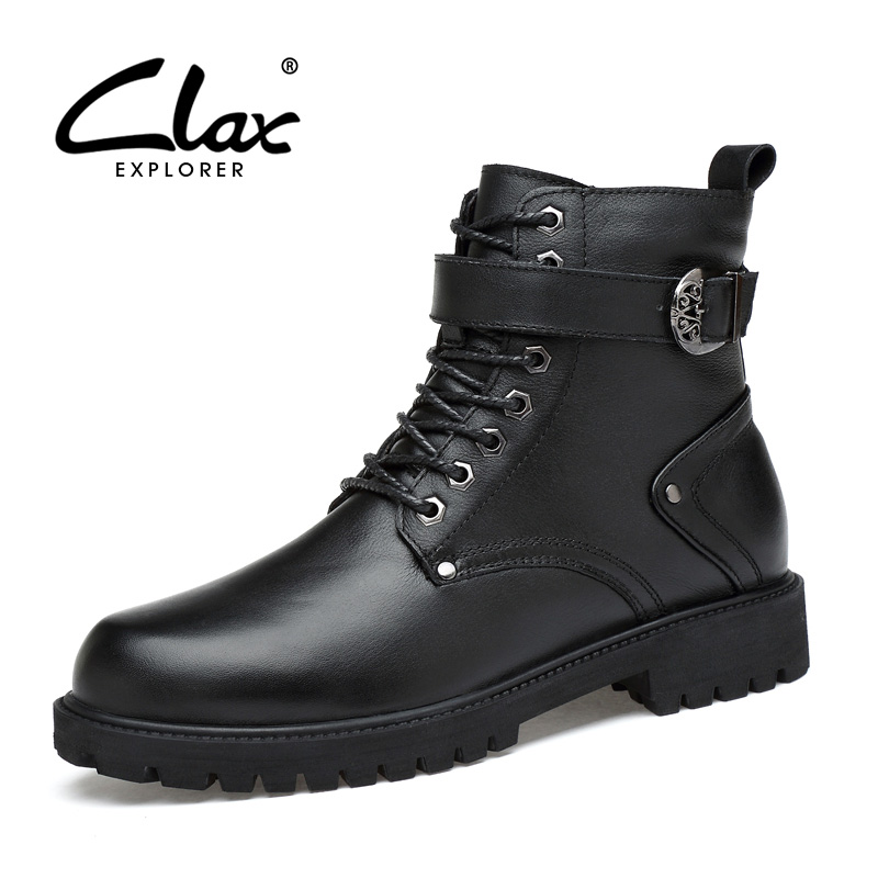 CLAX Mens Leather Boot 2017 Winter High Boot Plush Fur Dress Boot Black Zipper Shoe Warm Footwear Mal Snow Shoe Big Size moon boot лыжная одежда