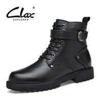 Clax رجل الجلود التمهيد 2017 الشتاء عالية التمهيد أفخم الفراء اللباس سوء الثلوج التمهيد أسود سستة الأحذية الدافئة الأحذية حذاء كبير الحجم