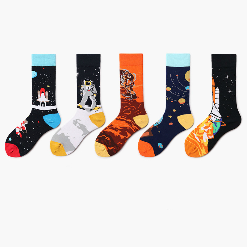 PEONFLY 2019 New Spring Cotton Women Space Socks Korea Summer Fashion Astronaut Planet Socks Universe Novelty Short Funny Socks