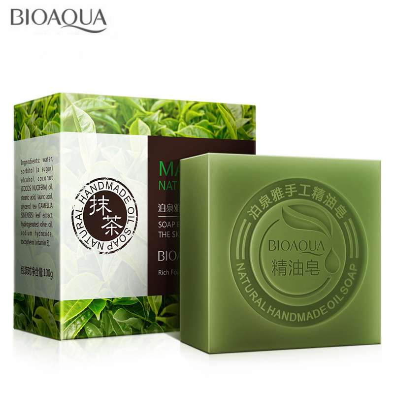 BIOAQUA 100G Matcha Green Tea Essential Oil Handmade Soap Whitening Moisturizing Face Cleansing Soap Cleansing Bath Bar Soap
