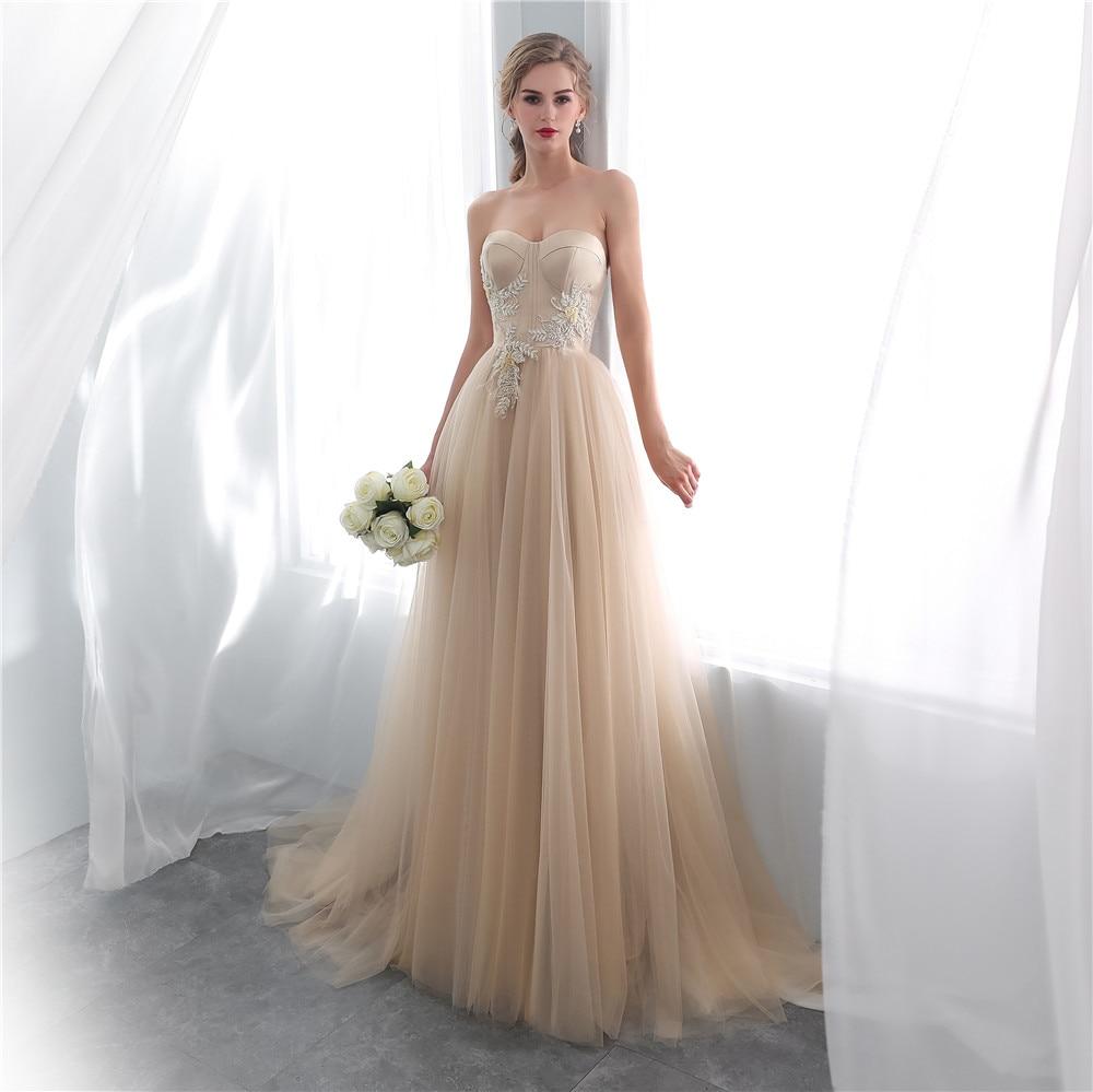 Champagne Wedding Dresses 2018 Dubai Sleeveless Arabic A-line  Gown Dress Elegant Robe de Mariee
