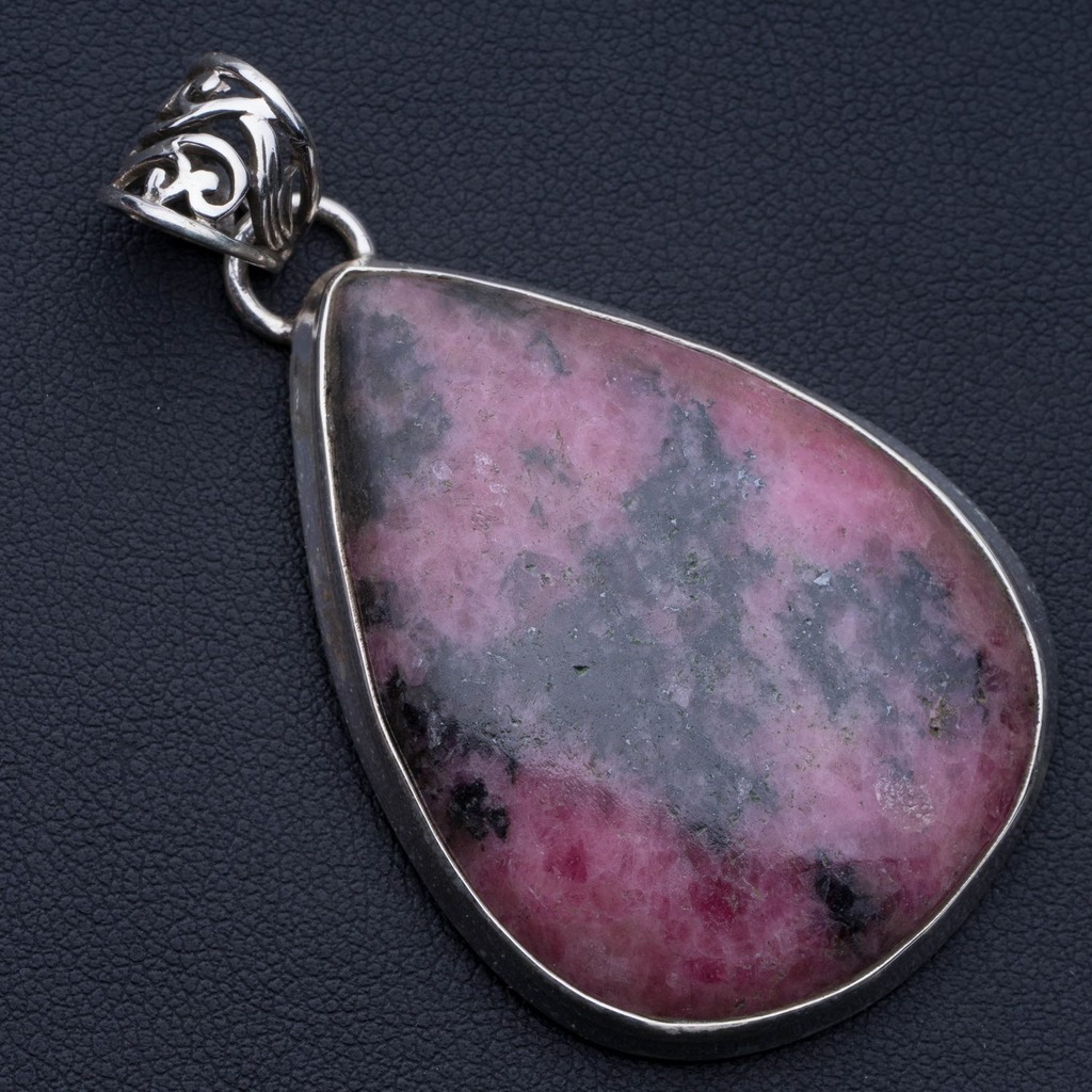 Natural Rhodonite Punk Style 925 Sterling Silver Pendant 2 1/4 P0601Natural Rhodonite Punk Style 925 Sterling Silver Pendant 2 1/4 P0601