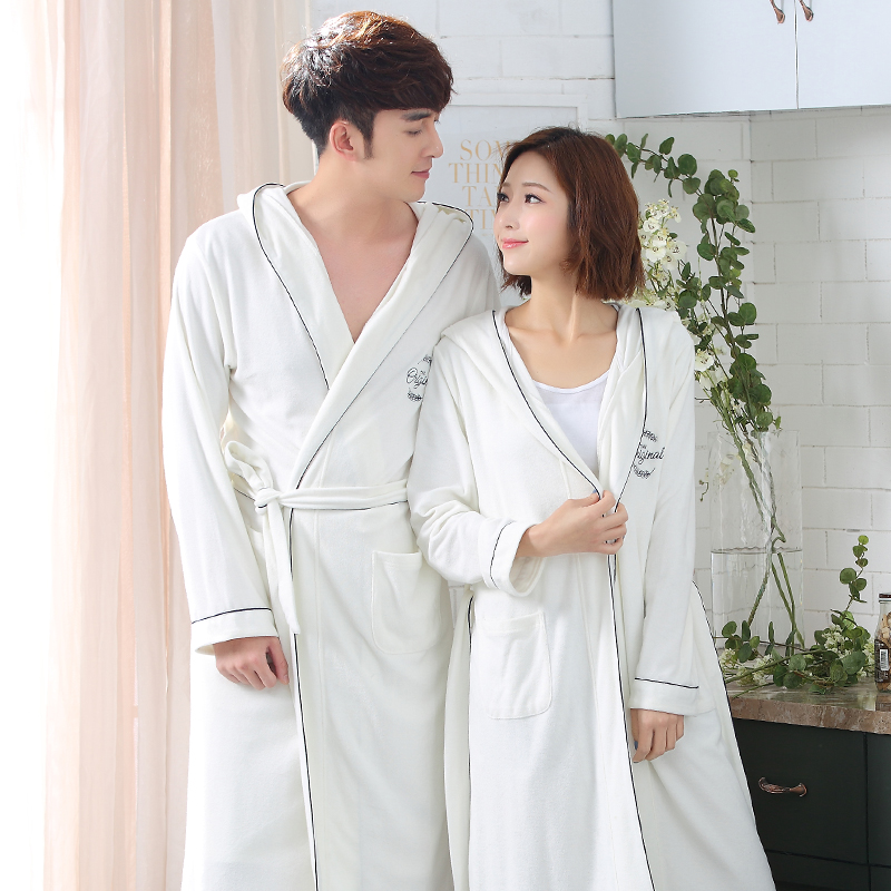 Robe Spring V-Neck Robe Women Sleepwear Nightwear Home Clothing Couple Bathrobe Night Dress Home Gown Sexy Sleepwear Nightgown