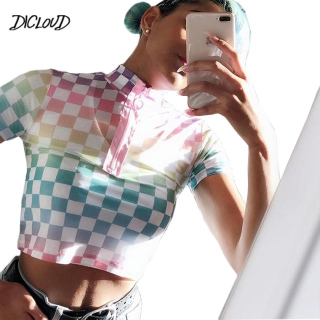 DICLOUD Harajuku kratę koszulka damska z golfem Bodycon Streetwear koszulki z krótkim rękawem 2019 lato Sexy szachownica Crop topy HOT