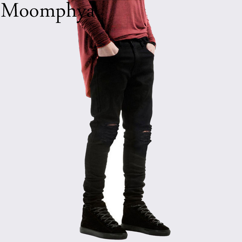Ripped Jeans Slim-Fit Streetwear Hip-Hop Black Denim Holes New with Skinny Men Pants