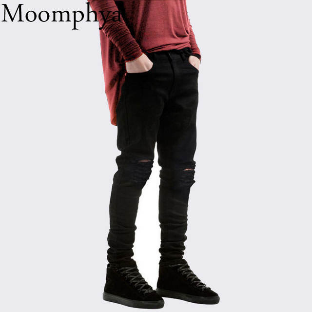 c53092d5b38 placeholder 2017 New Black Ripped Jeans Men With Holes Denim Super Skinny  Famous Designer Brand Slim Fit