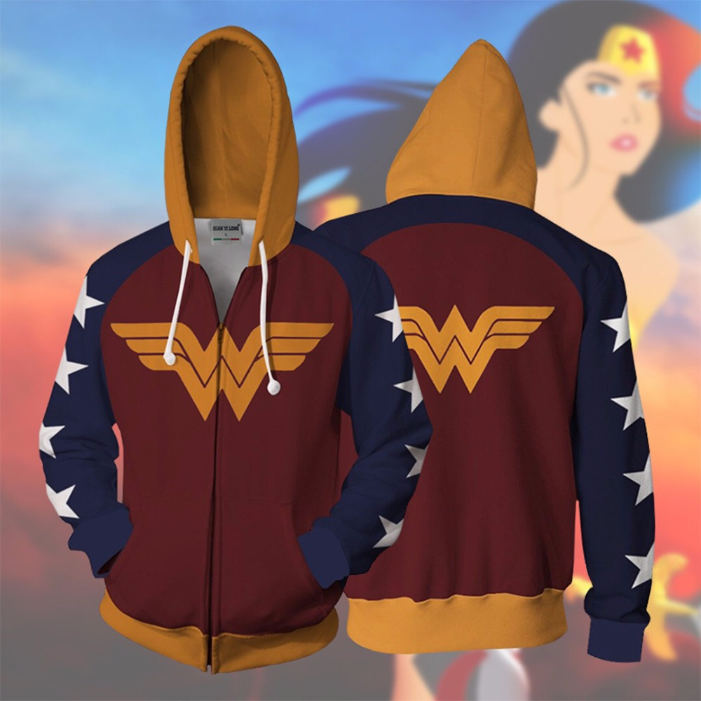 Anime Wonder Woman Cosplay Costumes Women Men 3D Printing Cotton Hoodies Jackets Sweatshirt Hooded Coat 2019 New Top