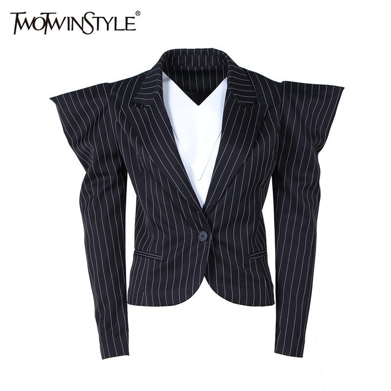 TWOTWINSTYLE Puff Sleeve Blazer For Women Striped Lapel Collar Long Sleeve Single Button Female Coats Spring Fashion OL Clothing
