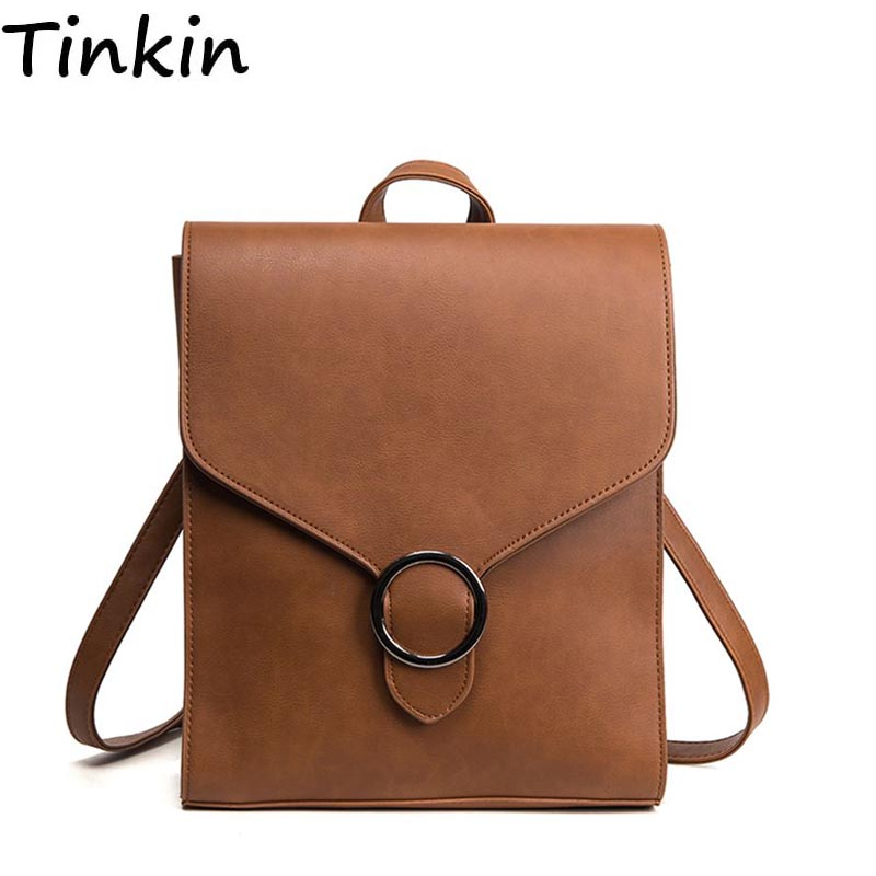 Tinkin Retro Pu Leather Small Bag Leisure Bags All-match Simple British Student Backpack Bag Girls School Bag