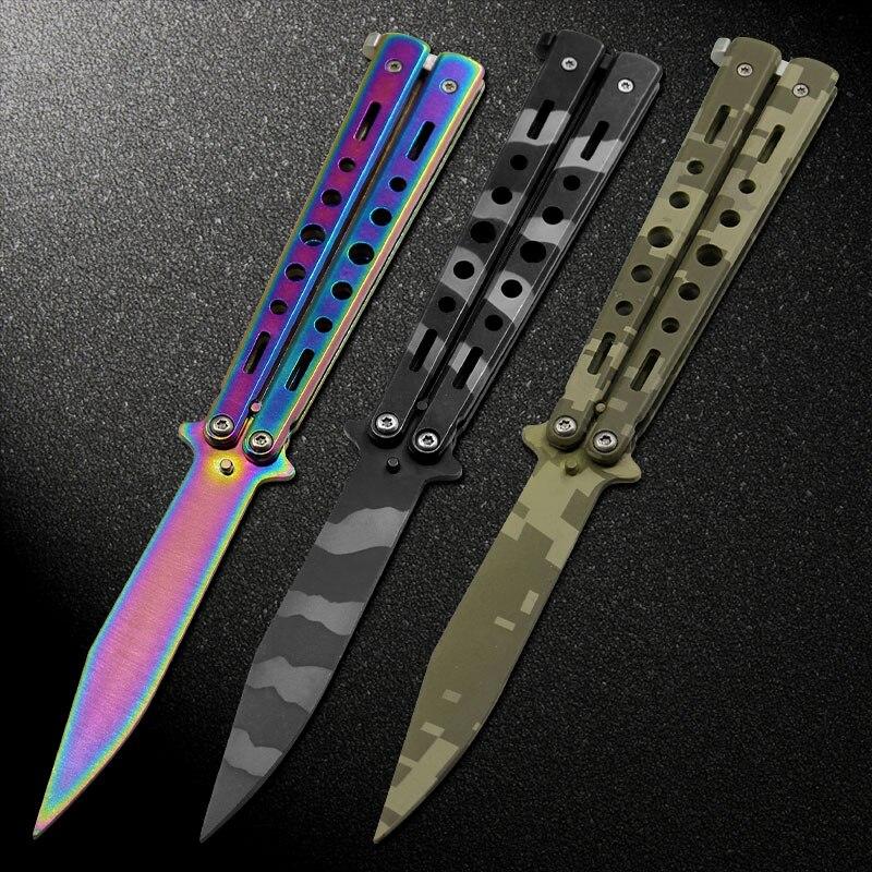 3 farben edelstahl messer training knife titanium messer schmetterling in messer für mann geschenk + tasche + schraubendreher + gescheut schrauben