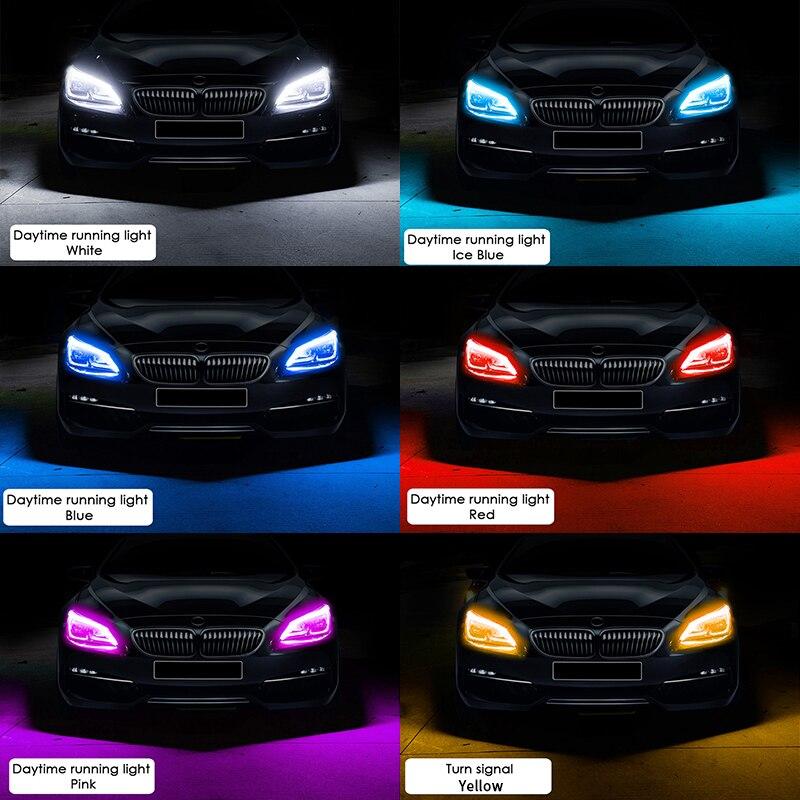 2x Ultrafine DRL 30 45 60cm Daytime Running Light Flexible Soft Tube Guide Car