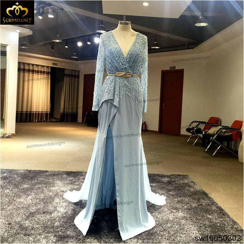 SuZhou SURMOUNT Bridal Dress Co,.Ltd Real de cor Sky Blue Jersey Chiffon Evening Dress Beading Handwork vestidos SW16050302