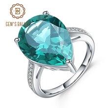 보석의 발레 럭셔리 10.68Ct 그린 에메랄드 칵테일 반지를 만들었습니다 여성을위한 정품 925 스털링 실버 반지 파인 쥬얼리