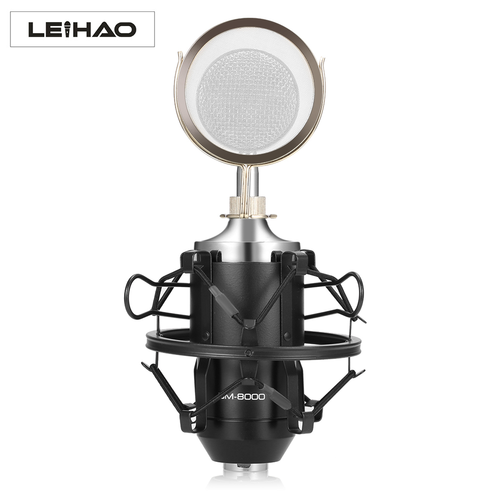 LEIHAO BM - 8000 Professional Sound Studio Recording Condenser Microphone with 3.5mm Plug Stand Holder heat live broadcast sound card professional bm 700 condenser mic with webcam package karaoke microphone