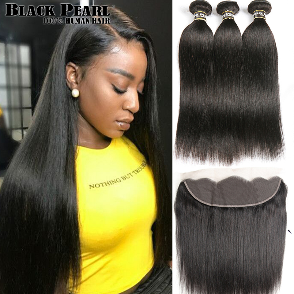 Black Pearl Pre Colored Peruvian Straight Hair 13x4 Lace Frontal Closure With Bundles Human Hair 3