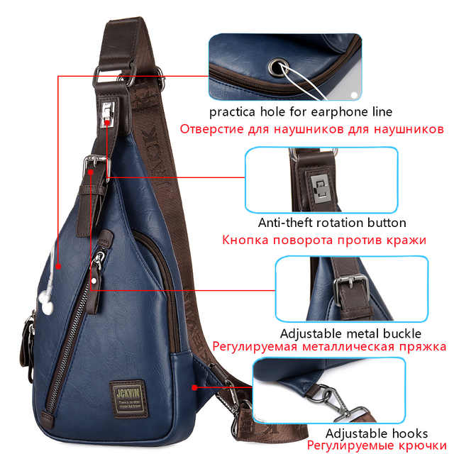 Men's Leather Fashion Cross-body Bag Theft proof Rotatable Button