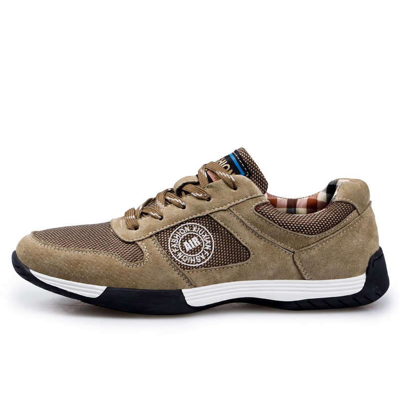 Genuine Leather Men Running Shoes Breathable Sneakers for men Athletic shoes Outdoor sport walking shoes male plus size 38-46