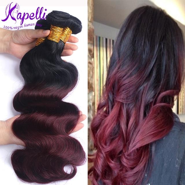 8A Brazilian Virgin Hair Body Wave Ombre Human Hair Extensions 4 Bundles Ombre Brazilian Hair Bundles T1B/99J Rosa Hair Products