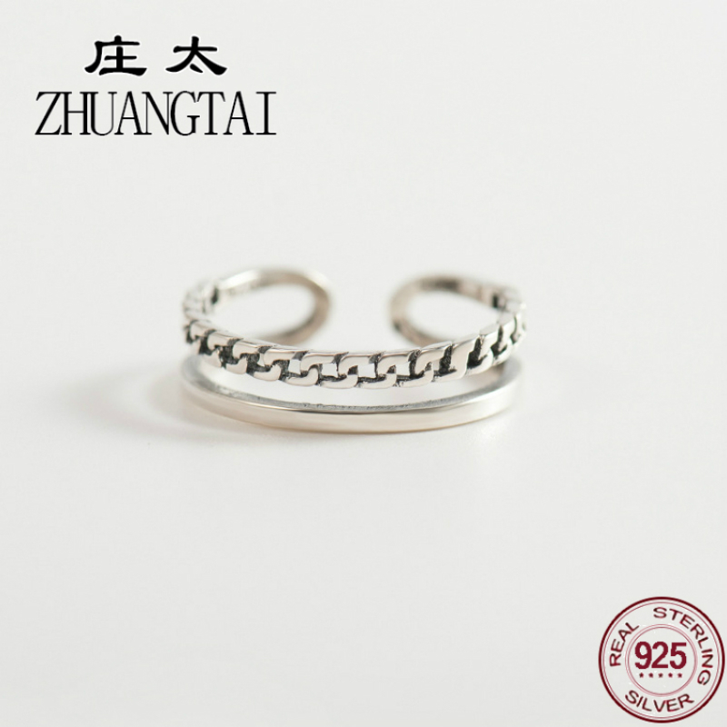 ZHUANGTAI Jewelry Real 925 Sterling Silver Vintage Antique Friendship Ring Concise Punk Biker Ladies Finger Rings For Women