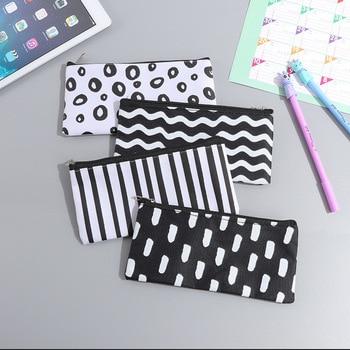(1Pc/Sell) Kawaii Pencil Case Canvas School Supplies Bts Stationery Gift Estuches stripe Cute Pencil Box Pencilcase Pencil Bag Pencil Bags